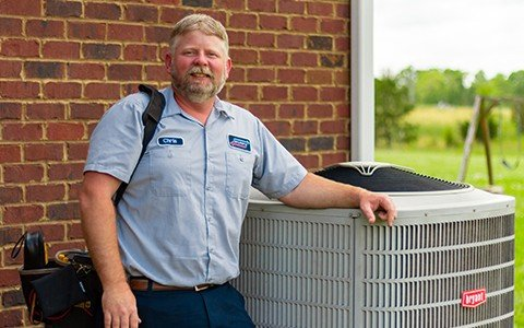 Tech with Heating & Air Conditioning Unit